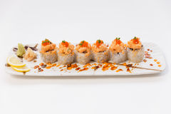 Salmon Maki Topping with Salmon Tatare and Ebiko Stock Photography