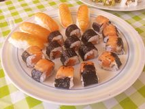 Salmon makis and nigiris Royalty Free Stock Photo