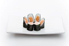 Salmon maky. Japanese restaurant food image, isolated on white, ideal for Menu stock image
