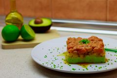 Salmon, mango and avocado tartar cooked by me to celebrate my wife`s birthday in August 2018 royalty free stock image