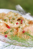Salmon marinated with dill Royalty Free Stock Image