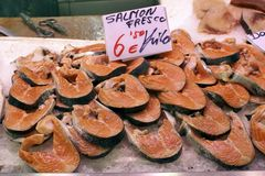 Salmon in a market. Close up view of some salmon steaks in a market Stock Photo