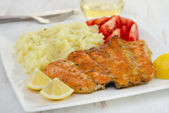 Salmon with mashed potato Royalty Free Stock Images
