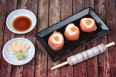 Salmon Mayo rolll ,Salad cream in salmon topped shrimp eggs. Stock Image