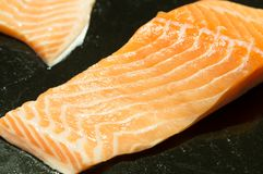 Salmon meat on sale. In supermarket Stock Image