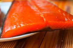 Salmon meat on the table Stock Image
