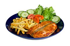 Salmon medallion with fries, isolated on white Royalty Free Stock Photo