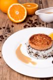 Salmon medallion with mixed cooked rice on white plate Royalty Free Stock Photos