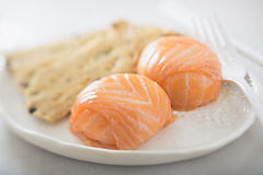 Salmon mousse parcels. Wrapped in smoked salmon Royalty Free Stock Image