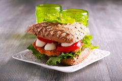 Salmon, mozzarella and tomato brown sandwich Royalty Free Stock Image