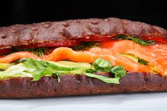 Salmon multi grain sandwich Stock Photo