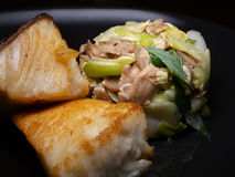 Salmon mushroom and leek simple dish Stock Photos