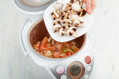 Salmon with mushrooms in multicooker Stock Photos