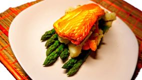 Salmon with mustard stock images