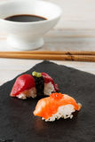 Salmon Nigiri with salmon roe. Stock Photo
