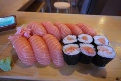 Salmon nigiri and salmon sushi. The fresh salmon nigiri and sushi in the japan Royalty Free Stock Photos