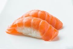 Salmon Nigiri Sushi. On plate stock photography