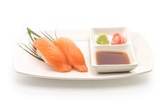 Salmon nigiri sushi - japanese food style. On white background Stock Image
