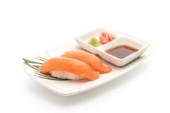Salmon nigiri sushi - japanese food style. On white background Royalty Free Stock Photo