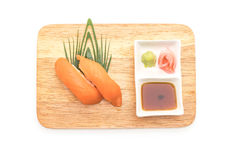 Salmon nigiri sushi - japanese food style. On white background Royalty Free Stock Photos
