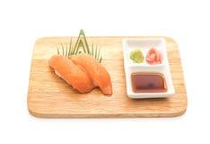 Salmon nigiri sushi - japanese food style. On white background Stock Photo