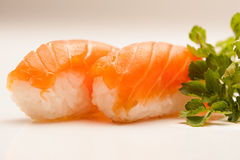 Salmon Nigiri Sushi. Two pieces of salmon nigiri sushi stock photos