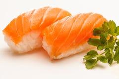 Salmon Nigiri Sushi. Two pieces of salmon nigiri sushi Stock Images