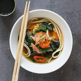 Salmon Noodle Soup. And A Cup of Green Tea Royalty Free Stock Photo