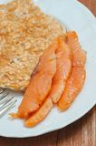 Salmon and oatmeal omelette Stock Photos