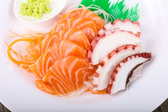 Salmon and Octopus sashimi Royalty Free Stock Image