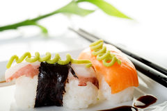 Salmon and octopus sushi Royalty Free Stock Photos