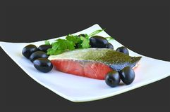 Salmon and olives Stock Photography