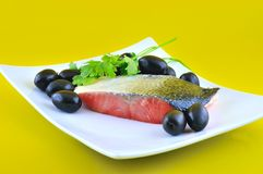 Salmon and olives Royalty Free Stock Photos