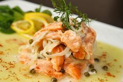 Salmon with onion Royalty Free Stock Image