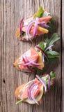 Salmon open faced sandwiches Royalty Free Stock Photos