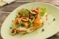 Salmon Open Sandwich Stock Photo