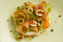 Salmon Open Sandwich Royalty Free Stock Photography