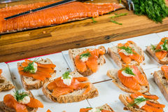 Salmon open sandwiches with dill on rye bread Royalty Free Stock Images