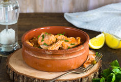 Salmon and orzo stew Royalty Free Stock Images