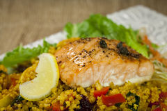 Salmon over millet Royalty Free Stock Image