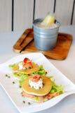 Salmon pancake Stock Images