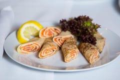 Salmon pancakes close up Stock Photo