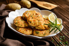 Salmon pancakes with potato Royalty Free Stock Image