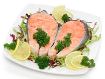 Salmon with parsley and lemon Stock Image