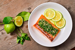 Salmon with parsley sauce Stock Photography