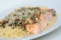 Salmon pasta. With pepper sauce Stock Image