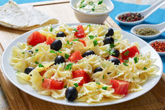 Salmon pasta  black olive salad on plate Royalty Free Stock Photos