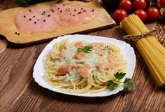 Salmon pasta Royalty Free Stock Images