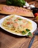 Salmon pasta Royalty Free Stock Photos