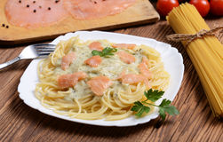 Salmon pasta Stock Photo